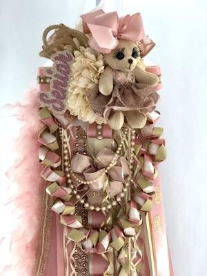 ROSE GOLD Senior Homecoming Mum - Burlap, lace, blush, champagne. Ivory or white- Custom