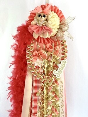 CORAL & GOLD Senior Homecoming Mum - IVORY, champagne- Custom