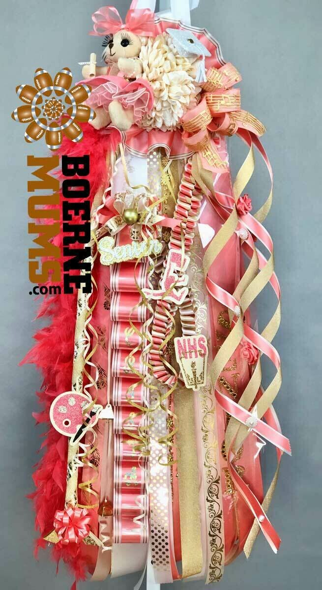 CORAL & CHAMPAGNE Senior Homecoming Mum - IVORY or white, champagne gold- Custom