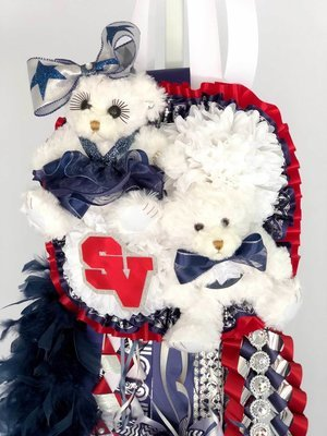 DOUBLE/DOUBLE Deluxe Homecoming Mum -School Colors OR SENIOR - Custom