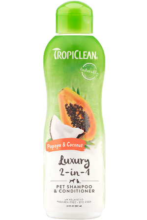 Tropiclean : Papaya & Coconut 2 in 1 Conditioning Shampoo 20oz