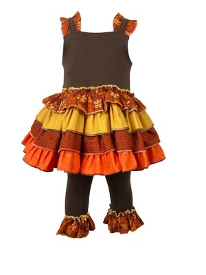 Fall Two Piece No Sleeve Dress with Leggings