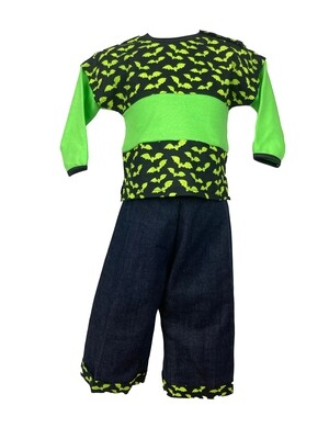 Halloween Two Piece Green Bats Haunt Outfit