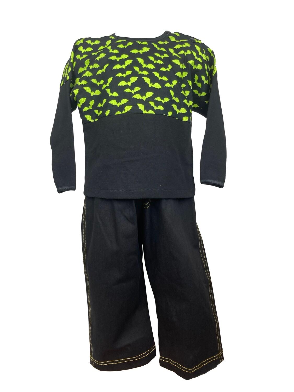 Halloween Two Piece Green Bats Haunt Outfit Long Sleeve (18-24 Months)