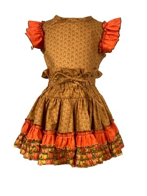 Fall Two Piece Top and Skirt (Orange Sleeves) 3T