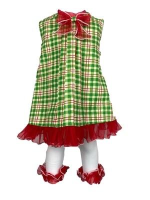 Holiday A-Line Green Plaid Dress w/Leggings