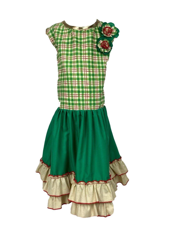 Holiday Green Plaid Dress (Size 6/7)