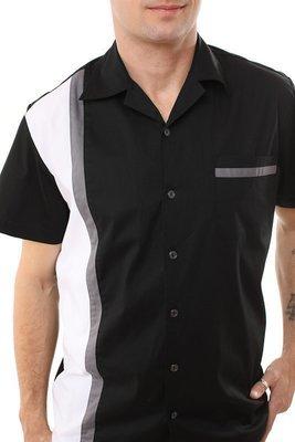 Modern style Rockabilly Bowling Shirt TIMOTHY (GREY)