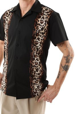Retro Bowling Shirt with Leopard Panels (Black)