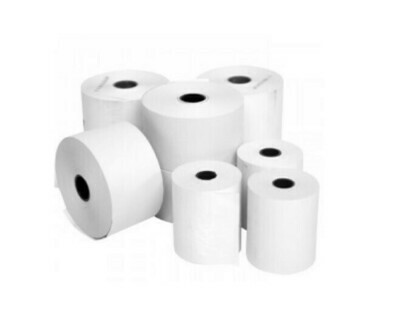 57x40x12.7mm White Thermal Paper Roll (Credit Card Rolls) 50 Roll Box