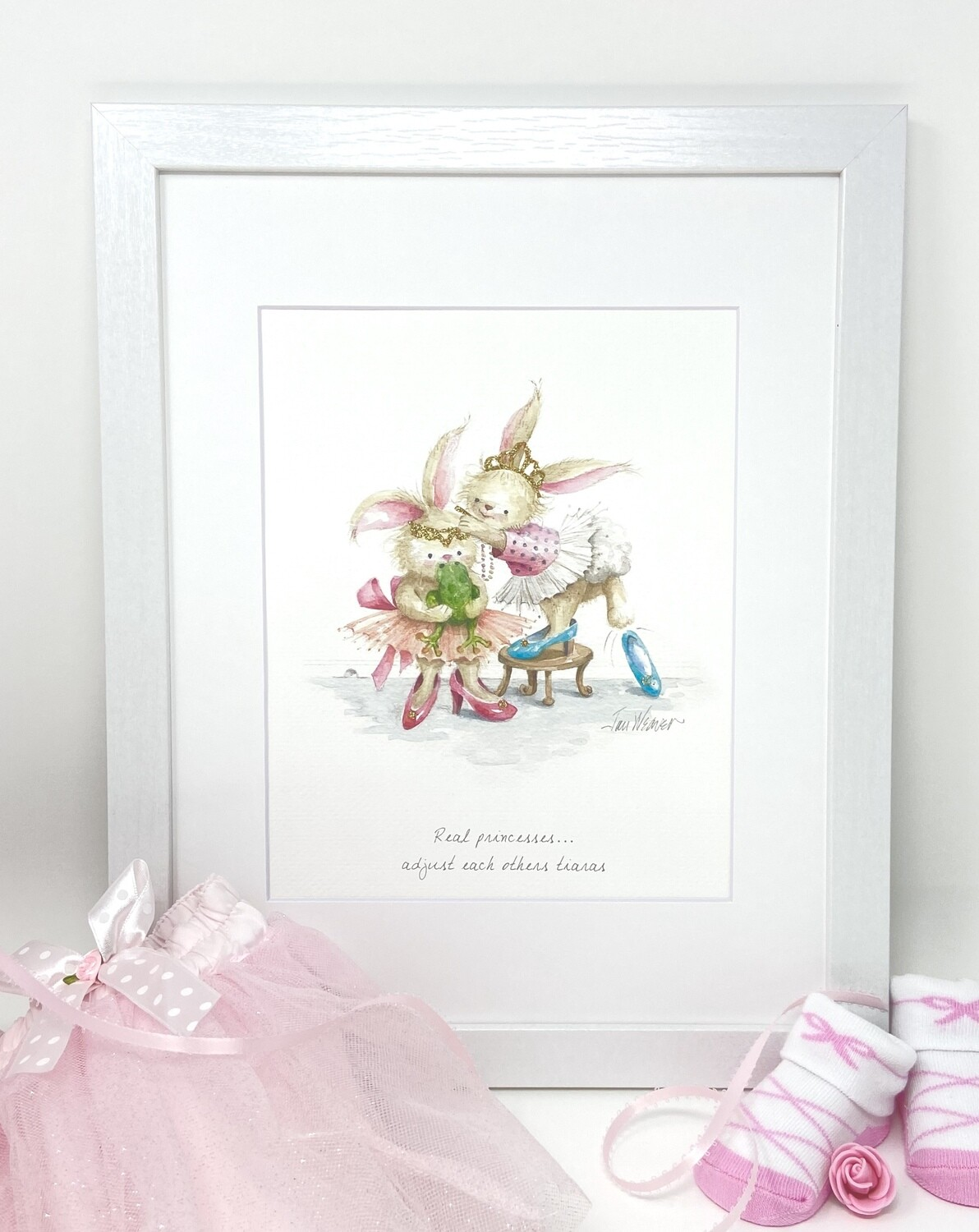 Nursery and Children's Art Print - Framed and Signed - REAL PRINCESSES ADJUST EACH OTHERS TIARAS