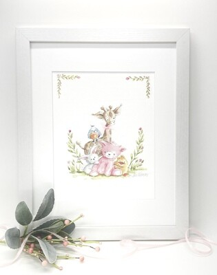 NURSERY AND CHILDREN'S ART PRINT - Framed and Signed - Kitty and Friends Illustration