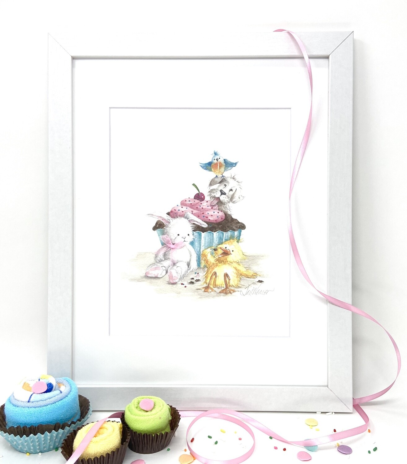 Nursery and Children's Art Print -Framed and Signed -ALWAYS SWEETER WITH FRIENDS