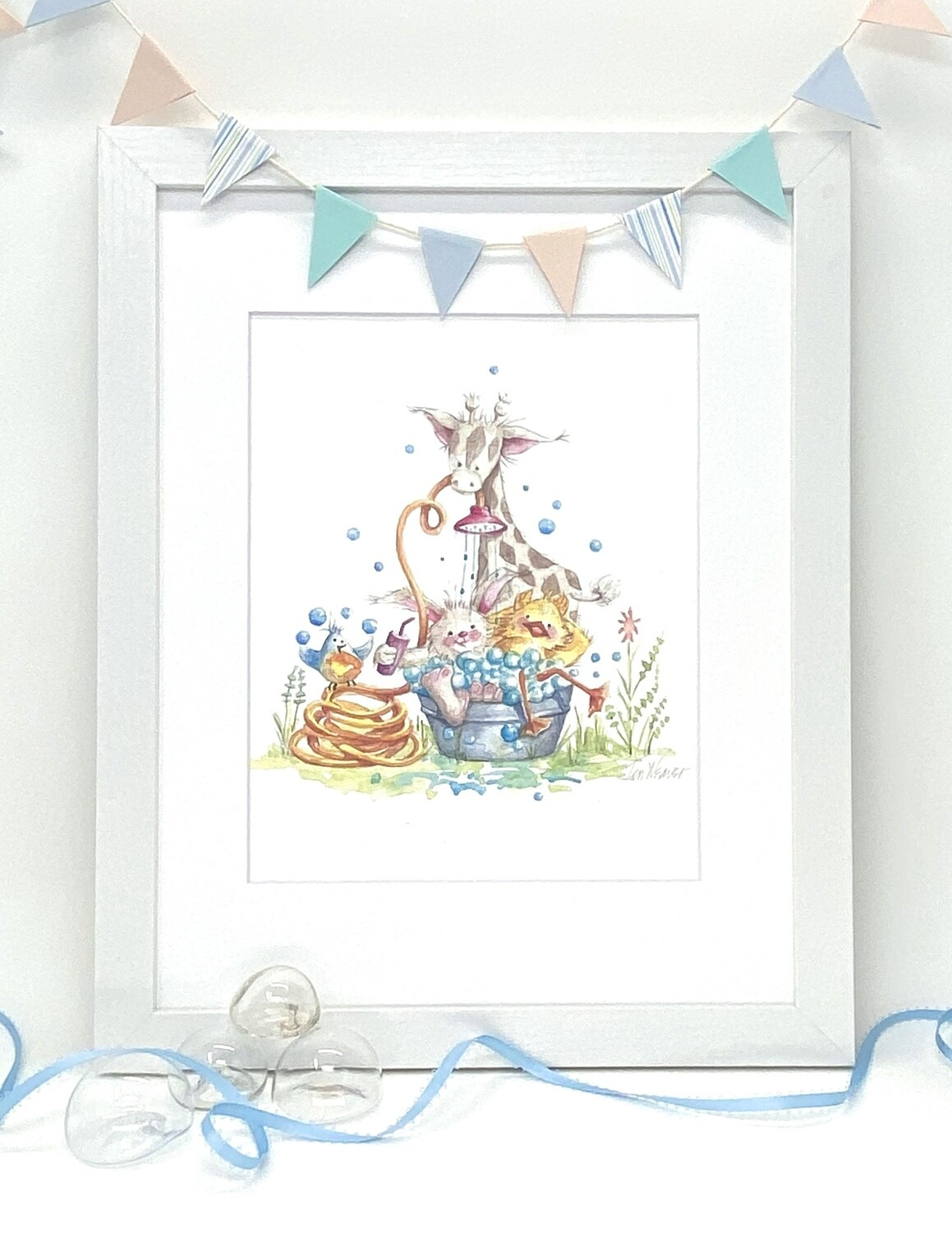 Nursery and Children's Art Print - Framed and Signed - BACK YARD BATH BUDDIES