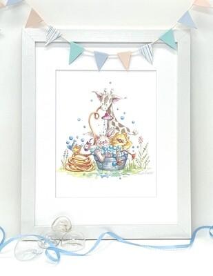 Nursery and Children's Art Print - Framed and Signed - BACK YARD BATH BUDDIES