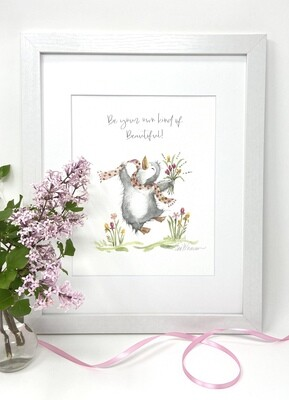 Nursery and Children's  Art Print - Framed and Signed -  Be Your Own Kind of Beautiful -