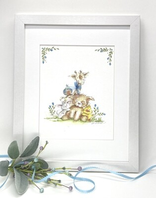 Nursery and Children's Art Print -Framed and Signed -PUPPY AND FRIENDS