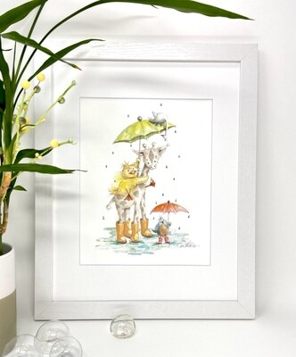 Nursery  and Children's Art Print - Framed and Signed - RAINY DAY FRIENDS