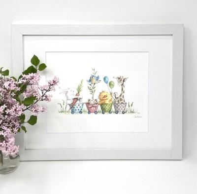 Nursery Art Print Framed and Signed -Cupcake Parade