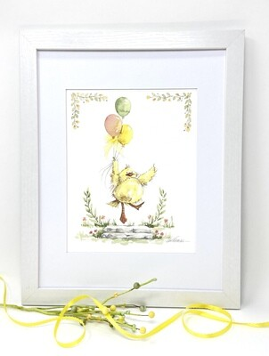 Nursery Art Print Framed and Signed - Dancing Duck