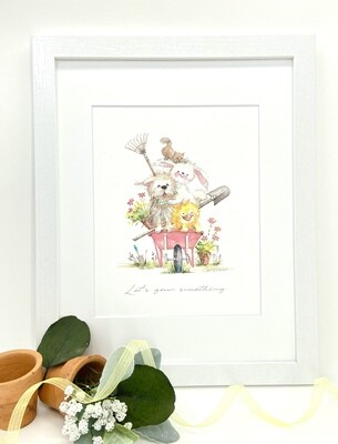 Nursery  and Children's Art Print - Framed and Signed -Let's Grow Something