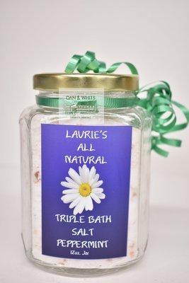 Laurie's All Natural Triple Bath Salt Peppermint 12 oz