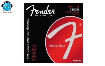 ENCORDADURA BAJO ELÉCTRICO FENDER NICKEL PLATED STEEL 7250-5L 40-115 5