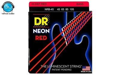 Encordadura DR Bajo 4 cuerdas NEON Red 45-105