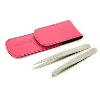 Petite Tweeze Set: Slant Tweezer + Point Tweezer - (With Pink Case)  2pcs
