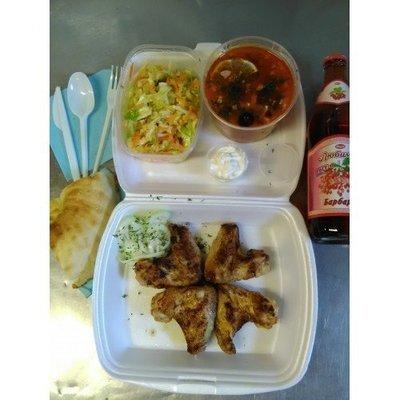 №4 салянка, лепешка, салат витаминный, куриные крылышки