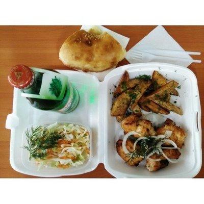 №1 куриное филе, картофель айдахо, салат витаминный, лепешка, лимонад