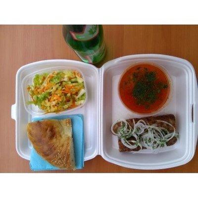 №3 люля баранина, суп чанах, лепешка, салат витаминный, лимонад