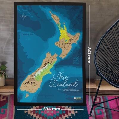 New Zealand Scratch Map poster SMNZT