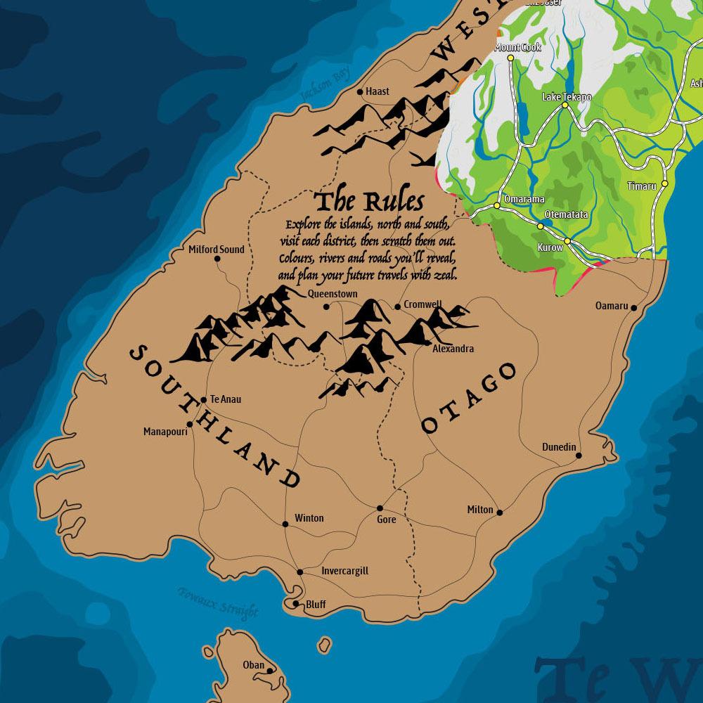 New Zealand Scratch Map poster