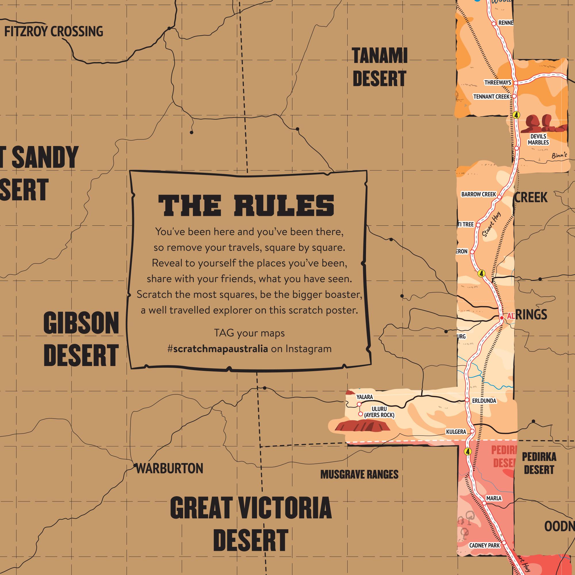 Australian Roadtrip Scratch Map poster