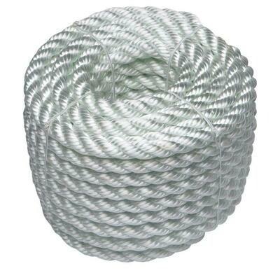 Mooring & Anchoring Rope (3 Strand Polyester) - Per Metre (White)
