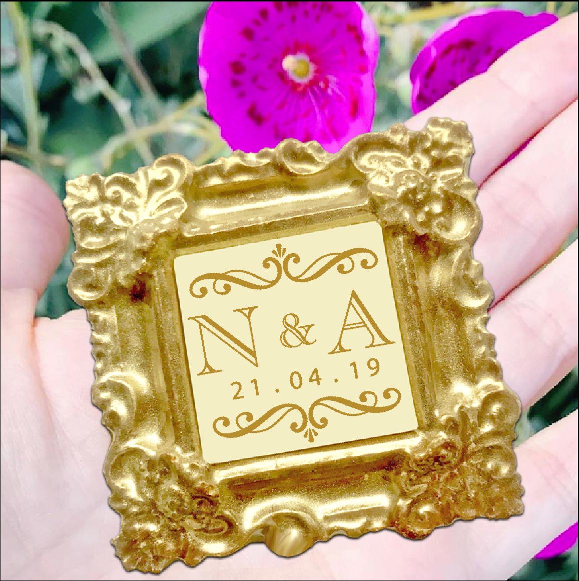 Personalised Printed Belgian Chocolate Gold Mini Frame