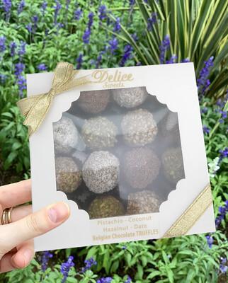 Handmade Belgian Chocolate Truffles. A Box Of 16 Truffles 4 each of Pistachio, Coconut, Date, Hazelnut