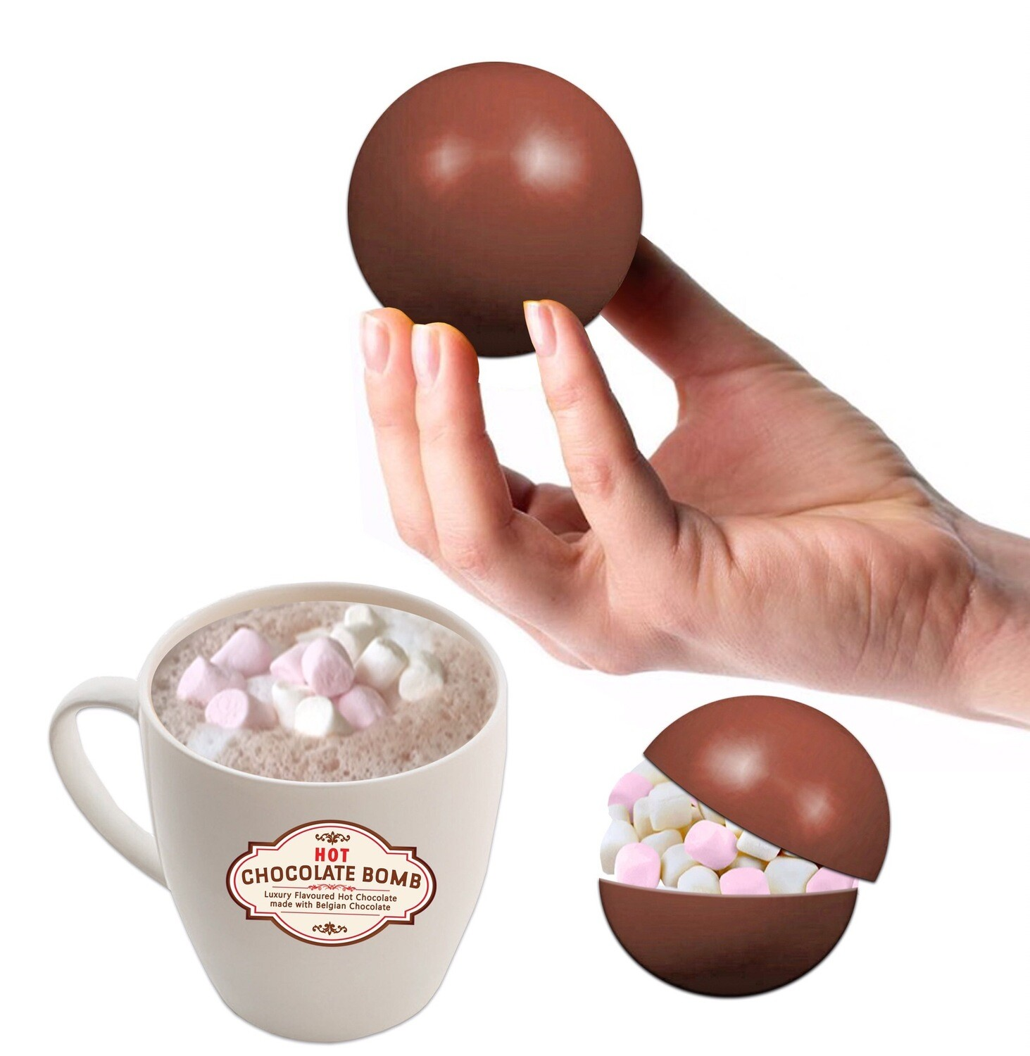 2 BELGIAN Hot Chocolate Bombs filled with mini Marshmallows