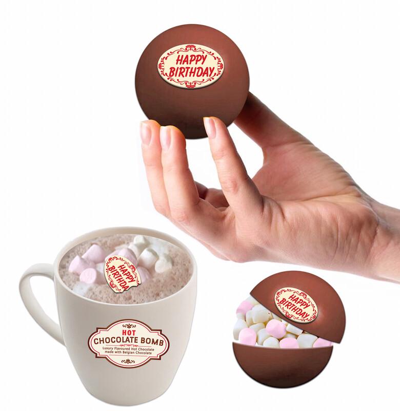 2 BELGIAN Hot Chocolate & Marshmallow Bombs with Chocolate Happy Birthday