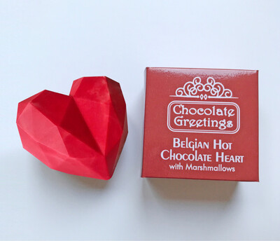 2 x Red Belgian Hot Chocolate Heart Bomb with Marshmallows