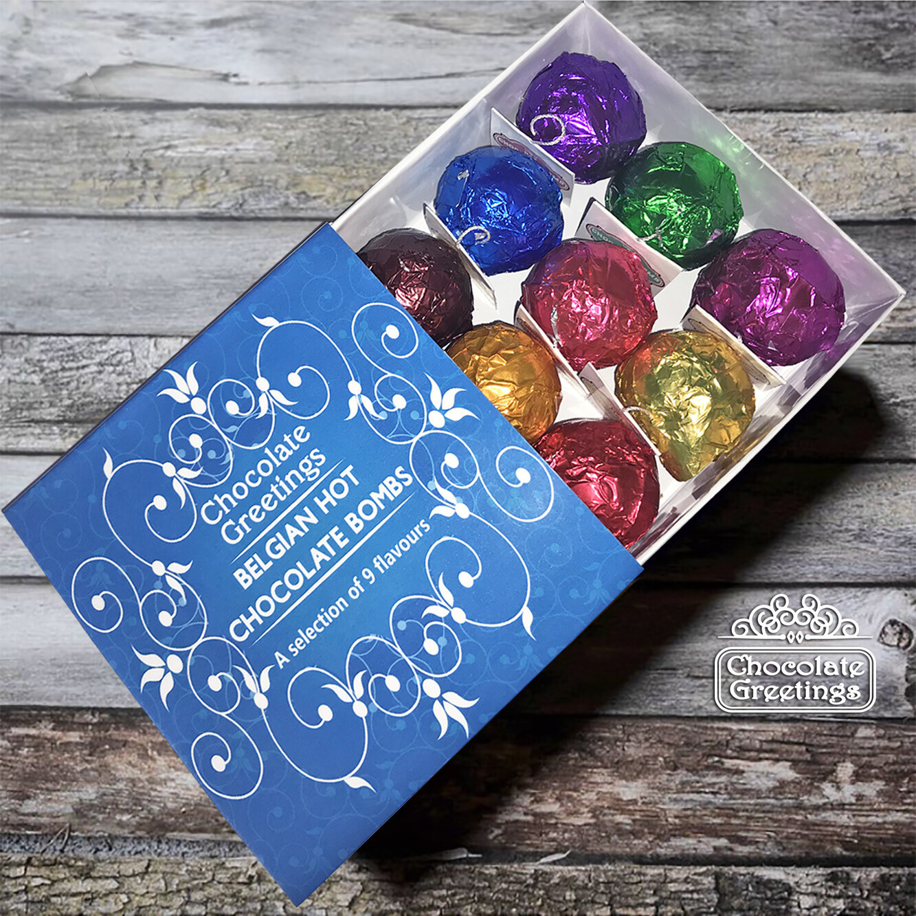 A selection of 9 different flavoured Belgian Hot Chocolate Bombs