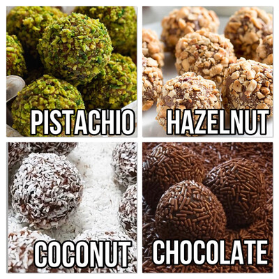 Handmade Belgian Chocolate Truffles. A Box Of 16 Truffles 4 each of Pistachio, Coconut, Chocolate, Hazelnut