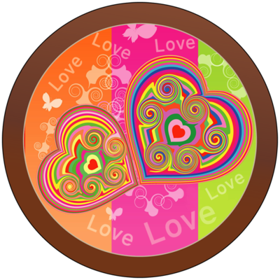 Printed Love Round Chocolate Plaque