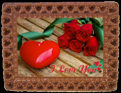 Printed Love Chocolate Frame HEARTS