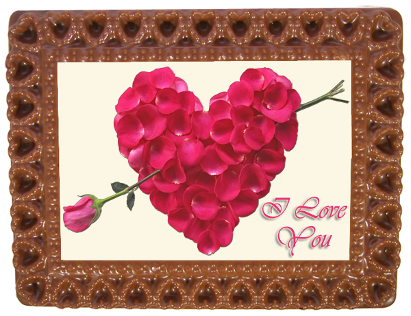 Printed Love Chocolate Frame HEARTS