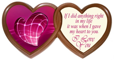 Printed Love Chocolate Frame TWIN HEARTS