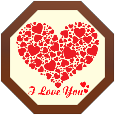 Printed Love Octagonal Chocolate Plaque