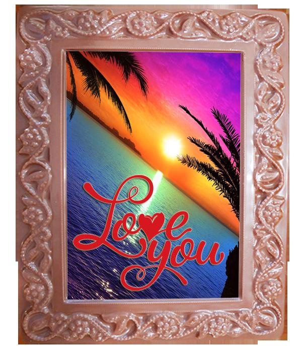 Printed Love Chocolate Frame Flowers & Leaves