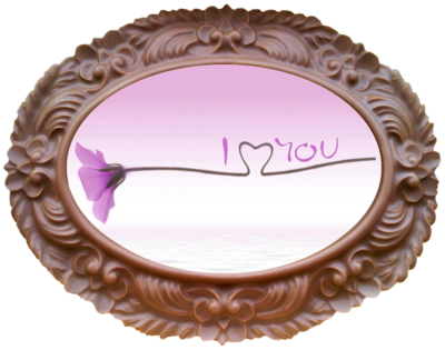 Printed Love Chocolate Frame OVAL